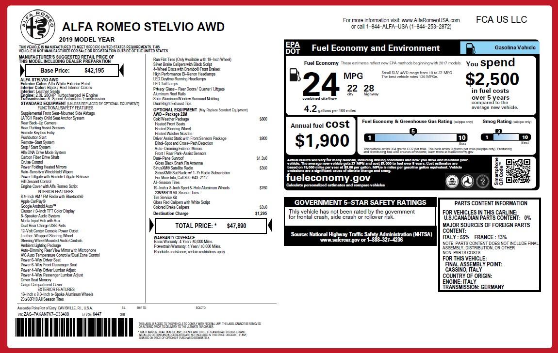 New 2019 Alfa Romeo Stelvio Q4 | Greenwich, CT