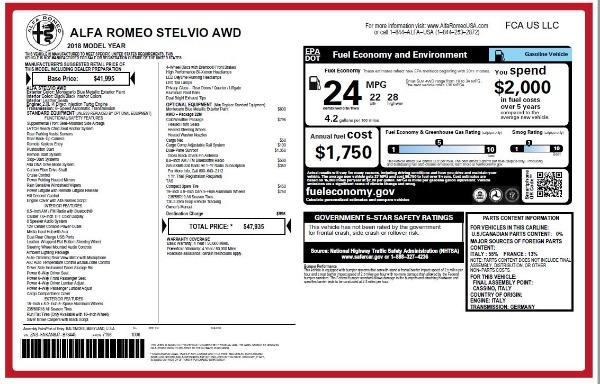 New 2018 Alfa Romeo Stelvio Q4 for sale Sold at Bugatti of Greenwich in Greenwich CT 06830 26