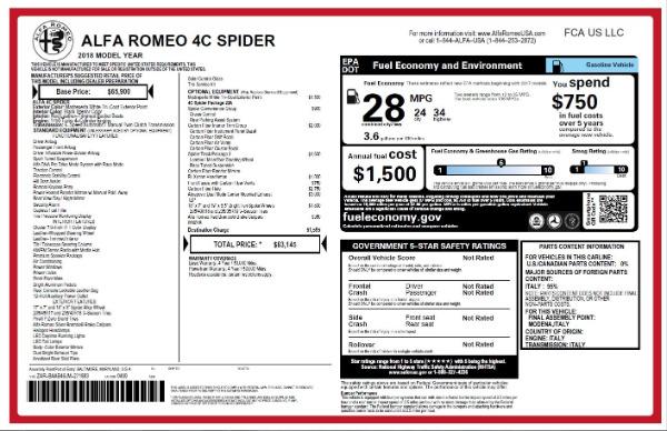 New 2018 Alfa Romeo 4C Spider for sale Sold at Bugatti of Greenwich in Greenwich CT 06830 28