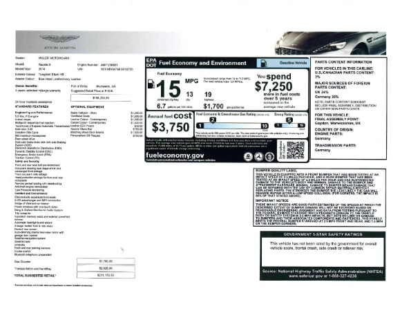 Used 2014 Aston Martin Rapide S for sale Sold at Bugatti of Greenwich in Greenwich CT 06830 22