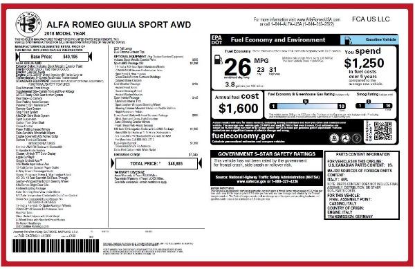 New 2018 Alfa Romeo Giulia Sport Q4 for sale Sold at Bugatti of Greenwich in Greenwich CT 06830 20
