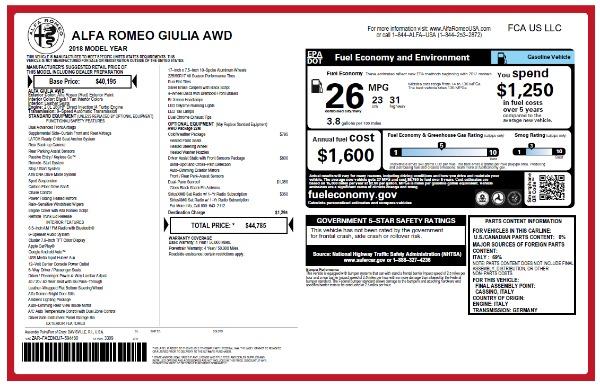 New 2018 Alfa Romeo Giulia Q4 for sale Sold at Bugatti of Greenwich in Greenwich CT 06830 2