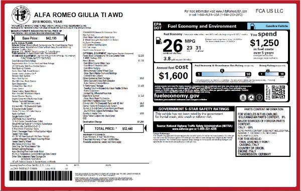 New 2018 Alfa Romeo Giulia Ti Q4 for sale Sold at Bugatti of Greenwich in Greenwich CT 06830 26