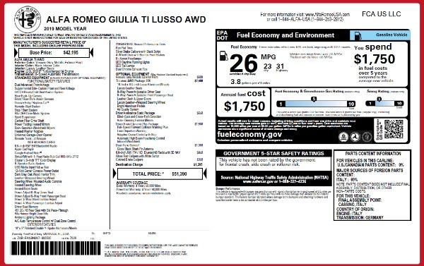 New 2019 Alfa Romeo Giulia Ti Lusso Q4 for sale $51,390 at Bugatti of Greenwich in Greenwich CT 06830 2