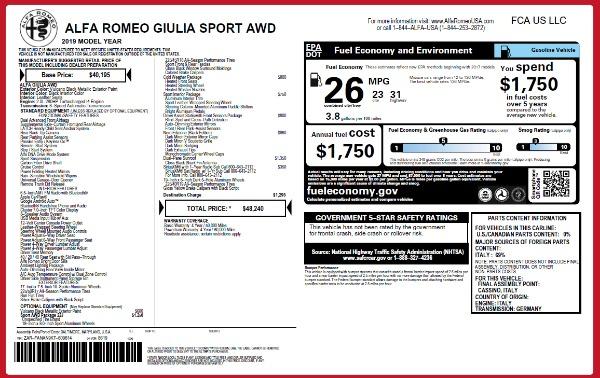 New 2019 Alfa Romeo Giulia Sport Q4 for sale Sold at Bugatti of Greenwich in Greenwich CT 06830 24
