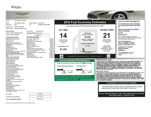 Used 2012 Aston Martin V8 Vantage S Coupe for sale Sold at Bugatti of Greenwich in Greenwich CT 06830 21