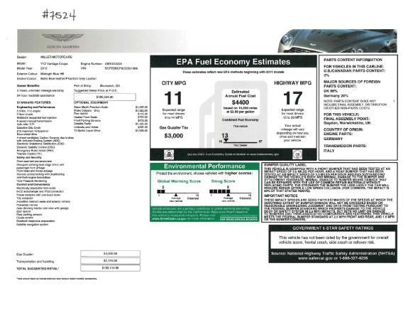 Used 2012 Aston Martin V12 Vantage for sale Sold at Bugatti of Greenwich in Greenwich CT 06830 19