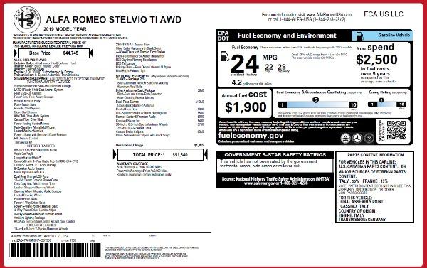 New 2019 Alfa Romeo Stelvio Ti Q4 for sale Sold at Bugatti of Greenwich in Greenwich CT 06830 2
