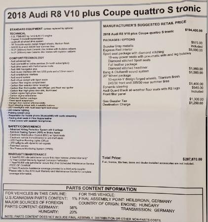 Used 2018 Audi R8 5.2 quattro V10 Plus for sale Sold at Bugatti of Greenwich in Greenwich CT 06830 27
