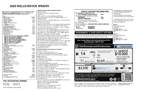 New 2020 Rolls-Royce Wraith Eagle for sale Sold at Bugatti of Greenwich in Greenwich CT 06830 8