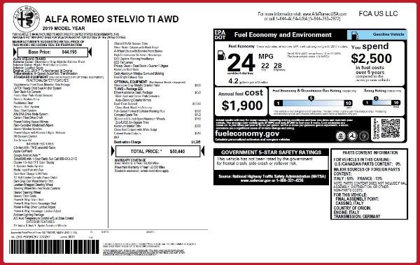 New 2019 Alfa Romeo Stelvio Ti Q4 for sale $50,440 at Bugatti of Greenwich in Greenwich CT 06830 2