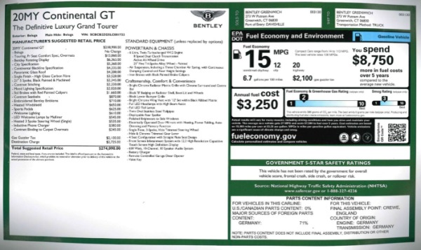 New 2020 Bentley Continental GT W12 for sale $274,090 at Bugatti of Greenwich in Greenwich CT 06830 27