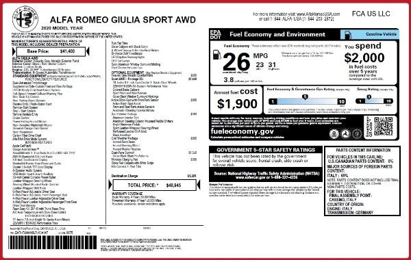 New 2020 Alfa Romeo Giulia Sport Q4 for sale $48,945 at Bugatti of Greenwich in Greenwich CT 06830 2