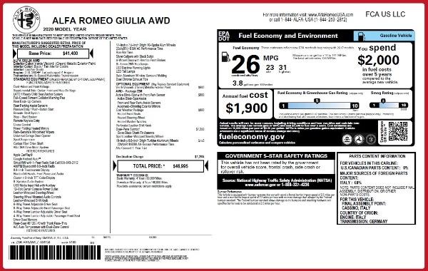 New 2020 Alfa Romeo Giulia Q4 for sale $46,995 at Bugatti of Greenwich in Greenwich CT 06830 2