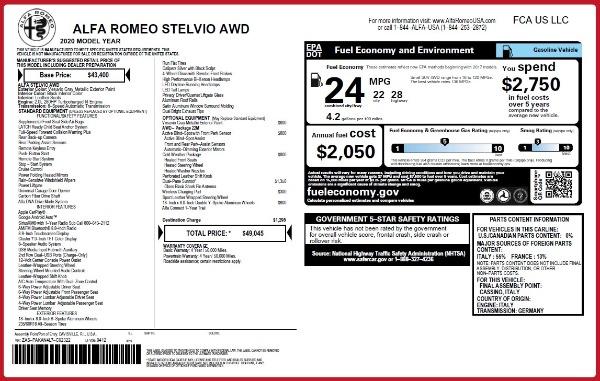 New 2020 Alfa Romeo Stelvio Q4 for sale $49,045 at Bugatti of Greenwich in Greenwich CT 06830 2
