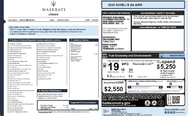 New 2020 Maserati Ghibli S Q4 for sale $83,785 at Bugatti of Greenwich in Greenwich CT 06830 28
