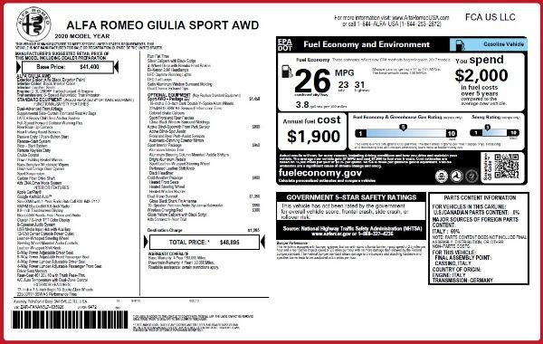 New 2020 Alfa Romeo Giulia Sport Q4 for sale $48,895 at Bugatti of Greenwich in Greenwich CT 06830 23