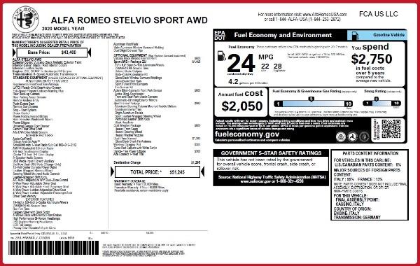 New 2020 Alfa Romeo Stelvio Sport Q4 for sale Sold at Bugatti of Greenwich in Greenwich CT 06830 2