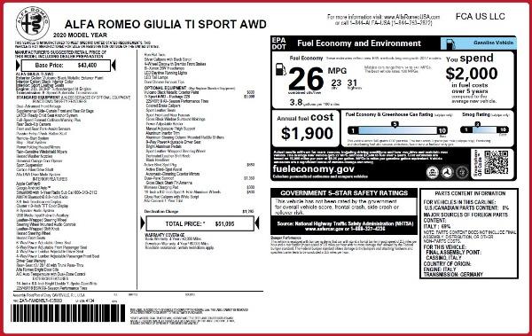 New 2020 Alfa Romeo Giulia Ti Sport Q4 for sale $51,095 at Bugatti of Greenwich in Greenwich CT 06830 2