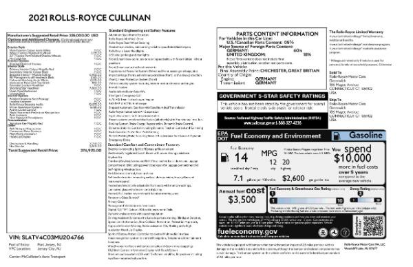 New 2021 Rolls-Royce Cullinan for sale Sold at Bugatti of Greenwich in Greenwich CT 06830 9