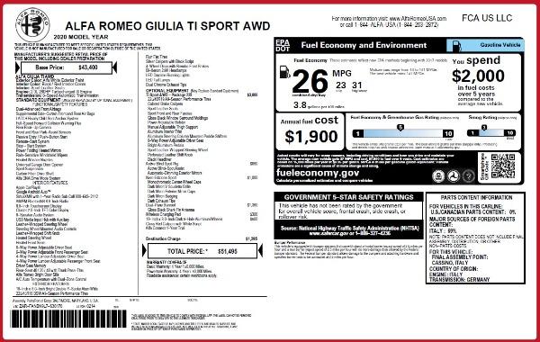 New 2020 Alfa Romeo Giulia Ti Sport Q4 for sale $51,495 at Bugatti of Greenwich in Greenwich CT 06830 28