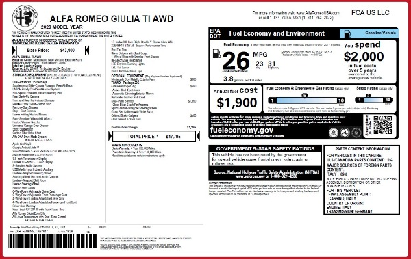 New 2020 Alfa Romeo Giulia Ti Q4 for sale $47,795 at Bugatti of Greenwich in Greenwich CT 06830 28