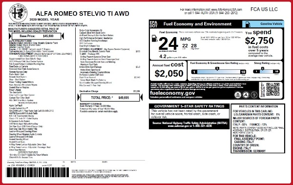 New 2020 Alfa Romeo Stelvio Ti Q4 for sale $49,695 at Bugatti of Greenwich in Greenwich CT 06830 2