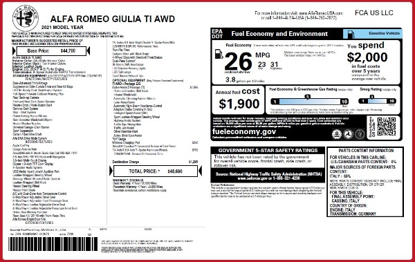 New 2021 Alfa Romeo Giulia Ti Q4 for sale $48,690 at Bugatti of Greenwich in Greenwich CT 06830 2
