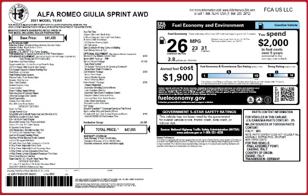 New 2021 Alfa Romeo Giulia Q4 for sale $47,085 at Bugatti of Greenwich in Greenwich CT 06830 28