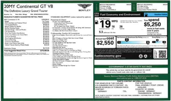 New 2020 Bentley Continental GT V8 for sale $283,430 at Bugatti of Greenwich in Greenwich CT 06830 28