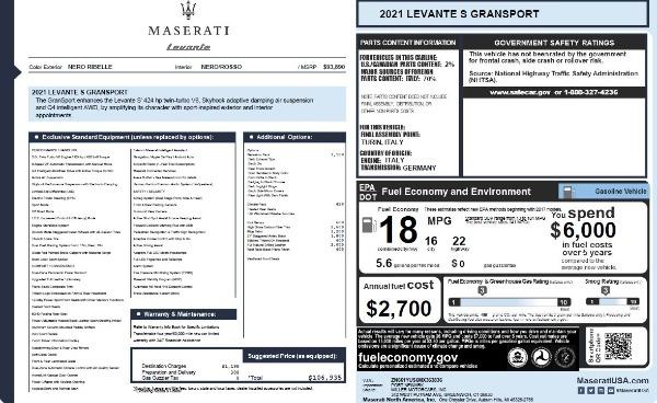 New 2021 Maserati Levante S Q4 GranSport for sale $106,935 at Bugatti of Greenwich in Greenwich CT 06830 2