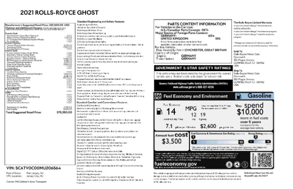 New 2021 Rolls-Royce Ghost for sale $378,350 at Bugatti of Greenwich in Greenwich CT 06830 8