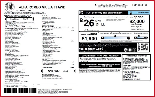 New 2021 Alfa Romeo Giulia Ti Q4 for sale $52,600 at Bugatti of Greenwich in Greenwich CT 06830 28