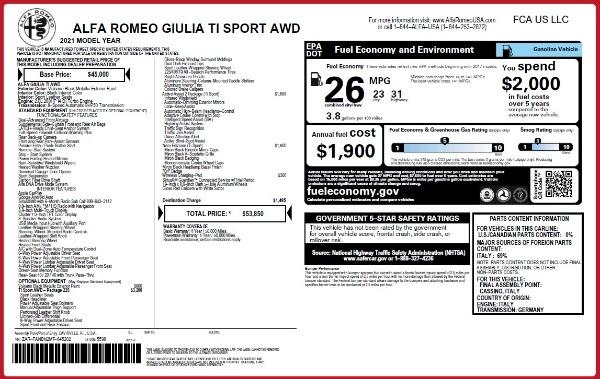 New 2021 Alfa Romeo Giulia Ti Sport Q4 for sale $53,850 at Bugatti of Greenwich in Greenwich CT 06830 25