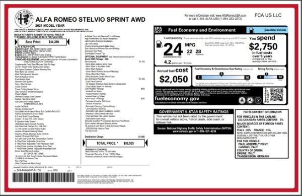 New 2021 Alfa Romeo Stelvio Q4 for sale Sold at Bugatti of Greenwich in Greenwich CT 06830 28