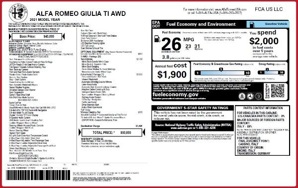 New 2021 Alfa Romeo Giulia Ti Q4 for sale Sold at Bugatti of Greenwich in Greenwich CT 06830 2