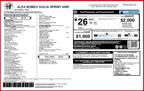 New 2021 Alfa Romeo Giulia Q4 for sale $46,235 at Bugatti of Greenwich in Greenwich CT 06830 2