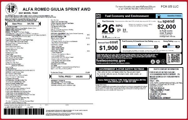 New 2021 Alfa Romeo Giulia Q4 for sale $46,895 at Bugatti of Greenwich in Greenwich CT 06830 26