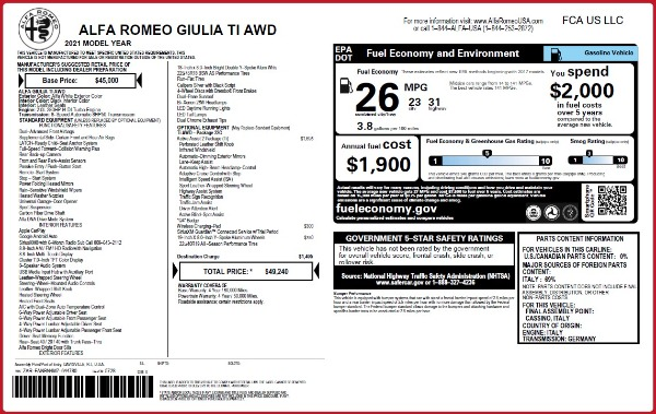 New 2021 Alfa Romeo Giulia Ti Q4 for sale $49,240 at Bugatti of Greenwich in Greenwich CT 06830 2