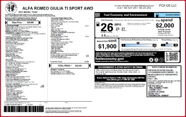 New 2021 Alfa Romeo Giulia Ti Sport Q4 for sale $55,550 at Bugatti of Greenwich in Greenwich CT 06830 2