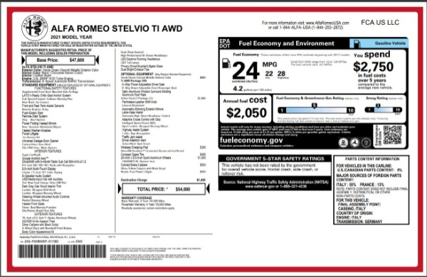 New 2021 Alfa Romeo Stelvio Ti Q4 for sale $54,000 at Bugatti of Greenwich in Greenwich CT 06830 28