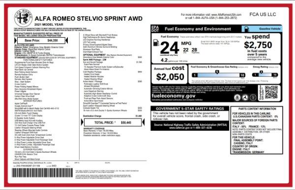 New 2021 Alfa Romeo Stelvio Q4 for sale $49,845 at Bugatti of Greenwich in Greenwich CT 06830 2