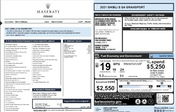 New 2021 Maserati Ghibli S Q4 GranSport for sale $100,285 at Bugatti of Greenwich in Greenwich CT 06830 28