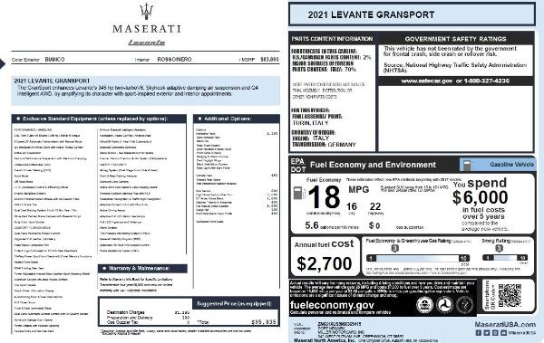 New 2021 Maserati Levante Q4 GranSport for sale $95,835 at Bugatti of Greenwich in Greenwich CT 06830 20