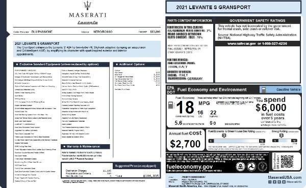 New 2021 Maserati Levante S Q4 GranSport for sale $104,835 at Bugatti of Greenwich in Greenwich CT 06830 2