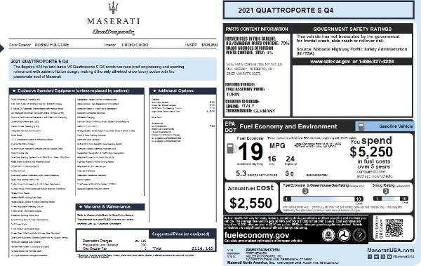 New 2021 Maserati Quattroporte S Q4 for sale $114,149 at Bugatti of Greenwich in Greenwich CT 06830 26