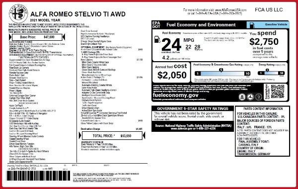 New 2021 Alfa Romeo Stelvio Ti Q4 for sale $53,650 at Bugatti of Greenwich in Greenwich CT 06830 26