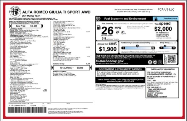New 2021 Alfa Romeo Giulia Ti Sport for sale $54,050 at Bugatti of Greenwich in Greenwich CT 06830 27