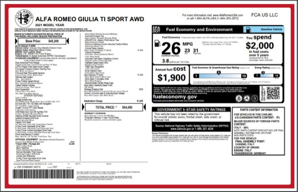 New 2021 Alfa Romeo Giulia Ti Sport for sale $54,050 at Bugatti of Greenwich in Greenwich CT 06830 27
