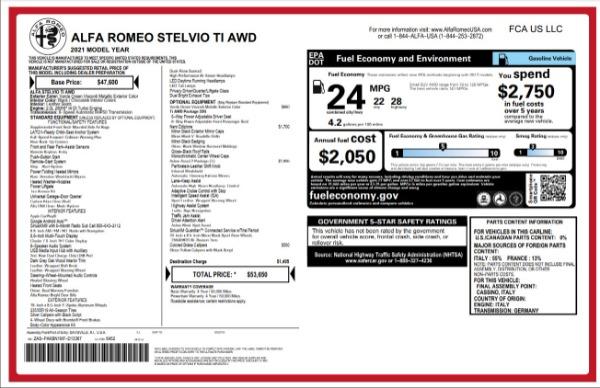 New 2021 Alfa Romeo Stelvio Ti for sale $53,650 at Bugatti of Greenwich in Greenwich CT 06830 27